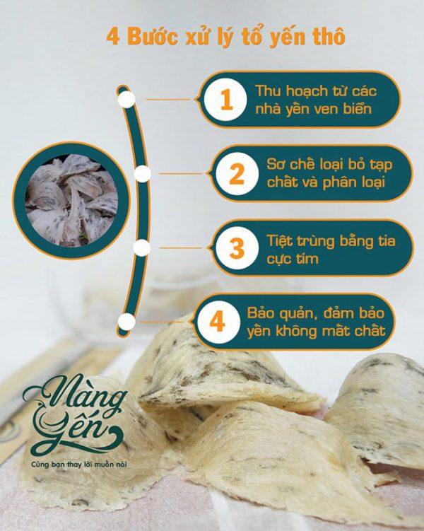 4 bước xử lý tổ yến thô
